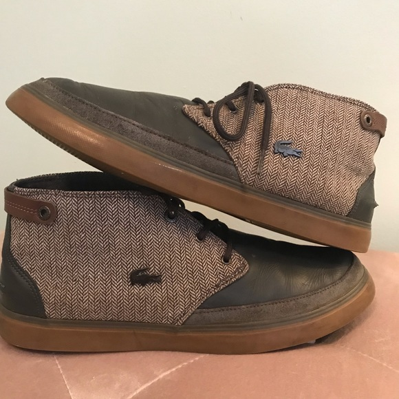 8ed041945 Lacoste Other - LACOSTE  Clavel 13 Leather Canvas Dark Grey Brown